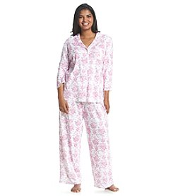 KN Karen Neuburger Plus Size Printed Notch Collar Pajama Set
