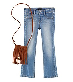 Squeeze® Girls' 4-6X Bootcut Jeans With Fringe Bag
