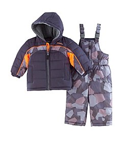 London Fog® Boys' 2T-7 Camo Colorblock Snowsuit