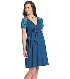 Three Seasons Maternity™ Lace Short Sleeve Surplice Dress