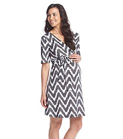 Three Seasons Maternity™ Short Sleeve Surplice Print Dress