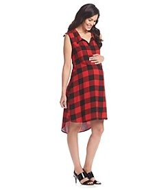 Three Seasons Maternity™ Sleeveless Plaid Shirt Tail High Low Dress