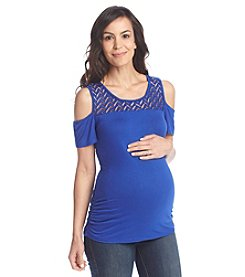 Three Seasons Maternity™ Short Sleeve Open Shoulder Lace Yoke Top