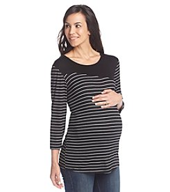 Three Seasons Maternity™ Solid Yoke Stripe Top