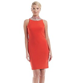 S.L. Fashions High Beaded Neckline Dress