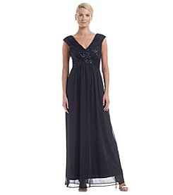 Sangria™ Sequin Bodice Chiffon Dress