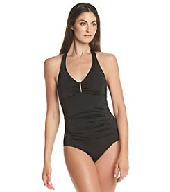 Calvin Klein Bar Halter One-Piece