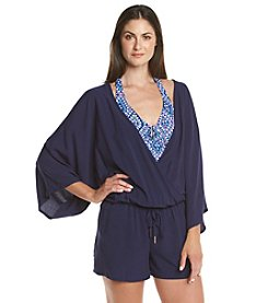 Vince Camuto® Three-Quarter Sleeve Romper Cover-Up