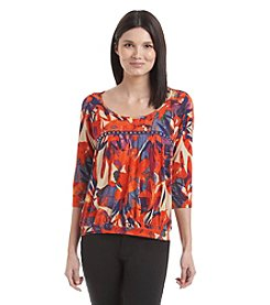 Nine West Jeans® Tropical Banded Hem Top