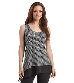 August Silk® Ditsy Geo Asymmetrical Hem Tank