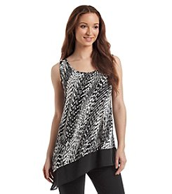 August Silk® Diagonal Print Asymmetrical Hem Tank