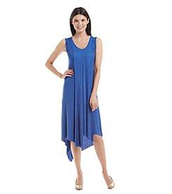 Cable & Gauge® V-Neck Asymmetrical Hem Dress