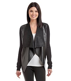 MICHAEL Michael Kors® Faux Leather Drape Cardigan