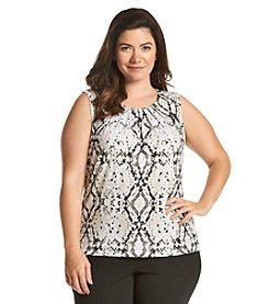 Calvin Klein Plus Size Animal Print Pleat Neck Cami