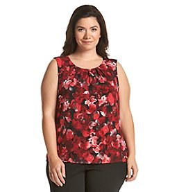 Calvin Klein Plus Size Floral Print Pleat Neck Cami