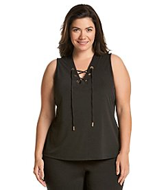 Calvin Klein Plus Size Solid Lace Up Tank