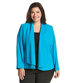 Calvin Klein Plus Size Open Drape Front Jacket With Zippers