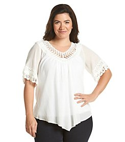 Democracy Plus Size Crinkled Gauze Top