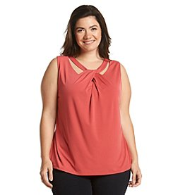 Nine West® Plus Size Solid Cross Neck Top