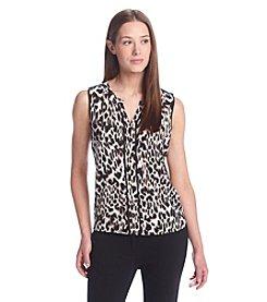 Calvin Klein Petites' Split Neck Leopard Top