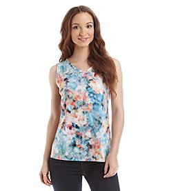 Gloria Vanderbilt® Floral Jeweled V-Neck Tank Top