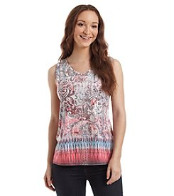 Gloria Vanderbilt® Paisley Jeweled V-Neck Tank Top