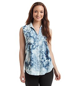 Gloria Vanderbilt Tie-Dye Chambray Tank Top