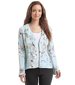 Relativity® Printed Open Front Tie-Back Cardigan