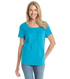 Breckenridge® Split Neck Lace Trim Shoulder Knit Top
