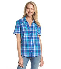 Breckenridge® Petites' Roll Tab Plaid Woven Top