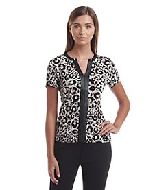 Calvin Klein Faux Leather Trim Leopard Top