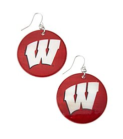 accessory PLAYS™ NCAA University Of Wisconsin Round Shell Drop Earrings