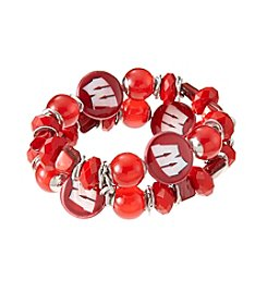 accessory PLAYS™ NCAA University Of Wisconsin Two Row Beaded Shell Stretch Bracelet