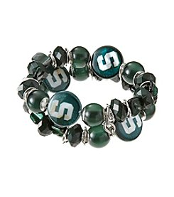 accessory PLAYS™ NCAA® Michigan State Spartans Two-Row Beaded Shell Stretch Bracelet