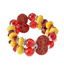 accessory PLAYS™ NCAA Iowa State University Two-Row Beaded Shell Stretch Bracelet