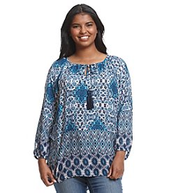 Relativity® Plus Size Printed Peasant Top