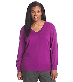 Studio Works® Plus Size Solid Color V-Neck Sweater