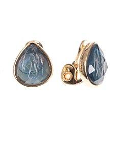 Anne Klein® Goldtone Blue Clip Button Earrings