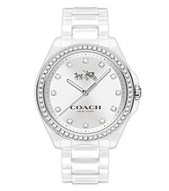 COACH Women's Silvertone Tristen White Ceramic Bracelet Watch