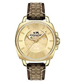COACH Women's Boyfriend Goldtone Signature Strap Watch
