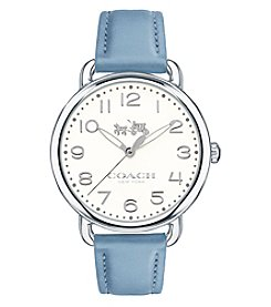 COACH Women's Delancey Silvertone Blue Leather Strap Watch