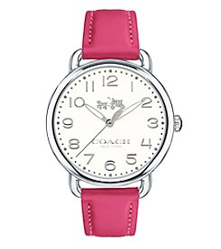 COACH Women's Delancey Silvertone Pink Leather Strap Watch