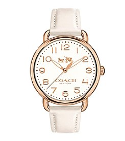 COACH Women's Delancey Goldtone Stainless Steel Leather Strap Watch