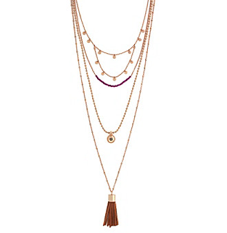 Vince Camuto™ Rose Goldtone Long Beaded Double Pendant Choker Necklace