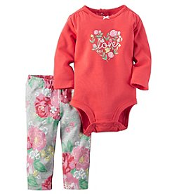 Carter's® Baby Girls' 2-Piece Floral Heart Bodysuit And Leggings Set