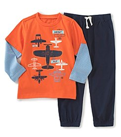 Kids Headquarters® Baby Boys 2-Piece Planes Layered Tee And Pants Set