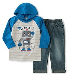 Kids Headquarters® Baby Boys 2-Piece Robot Hooded Tee And Jeans Set