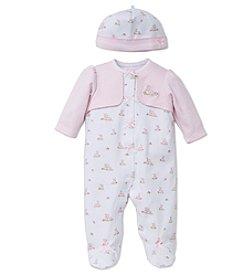 Little Me® Baby Girls' Bunnies Footie And Hat Set