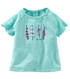 OshKosh B'Gosh® Baby Girls' Lace Sleeve Feathers Tee