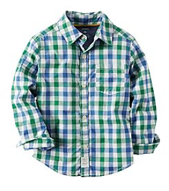 Carter's® Boys' 2T-8 Long Sleeve Checked Button Down Shirt